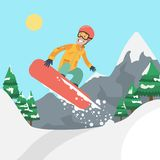 Man on snowboard. Man riding snowboard on the hill with trees Stock Images