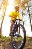 Man riding sport mountain bike on extreme track. Man riding sport   mountain bike on extreme track Stock Photo