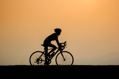 Man riding on a trail with his bike. Royalty Free Stock Photos