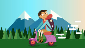 Man riding vespa bike motorcycle in nature mountain forest background vector illustration travel Stock Images