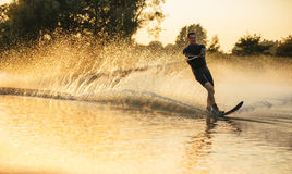 Man riding wakeboard in a lake Royalty Free Stock Images