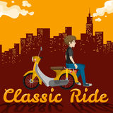 Man riding on yellow scooter Stock Photography