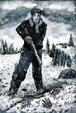 Man with Rifle on the Frozen Wasteland Stock Images