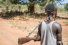 Man with rifle of the Hamer-Banna ethnic group, Ethiopia. Africa Royalty Free Stock Images