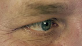 Man right eye extreme close up macro view half turned male face. Man read. Looking information. Smiling face. Eye motion stock video footage