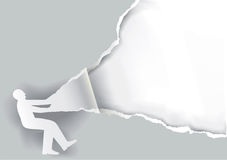 Man ripped paper background. Paper silhouette of man ripping paper background with place for your text or image. Vector available Stock Photography