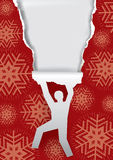 Man ripping Red Snowflakes Background Royalty Free Stock Image
