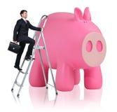 Man rises up on the stepladder near piggy bank Stock Photos