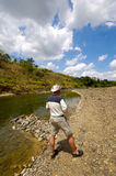 Man at river Stock Photo