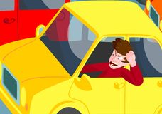 Man with road rage. Angry man exhibiting road rage stuck in rush hour traffic in a yellow car vector illustration