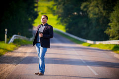 Man on a road standing Royalty Free Stock Images