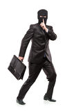 A man in robbery mask stealing a briefcase. Isolated on white background Stock Photography