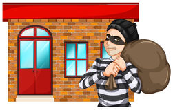 A man robbing the building. Illustration of a man robbing the building on a white background Stock Images
