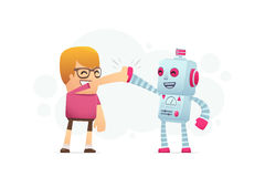 Man and the robot best friends. Royalty Free Stock Images