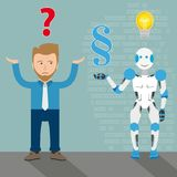 Man Robot Cartoon Question Paragraph Answer Bulb Royalty Free Stock Photography