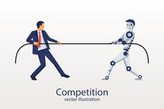 Man with the robot is competing. vector illustration