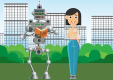 Man and robot are reading books. The robot prefers old books on paper. Vector illustration stock illustration