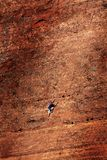 Man Rock Climbing Rockclimbing on Red Cliffs Sandstone with Ropes stock photos