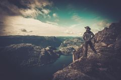 Man on rock's edge Stock Image
