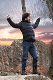 Man on a rock Stock Photography