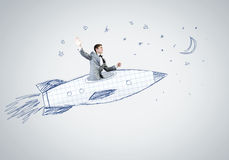 Man on rocket. Young businessman,an flying in sky on drawn rocket vector illustration