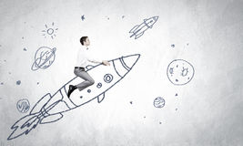 Man on rocket. Young businessman flying in sky on drawn rocket royalty free illustration