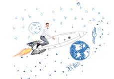Man on rocket Stock Image