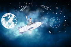 Man on rocket. Young businessman flying in sky on drawn rocket stock illustration