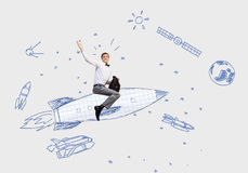 Man on rocket Royalty Free Stock Photography