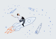 Man on rocket Royalty Free Stock Images