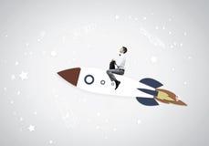 Man on rocket. Young businessman flying in sky on drawn rocket vector illustration