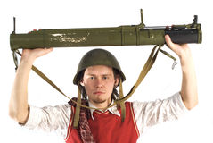 Man with rocketlauncher Stock Images