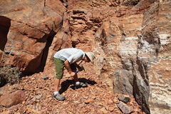 Man rockhounding Stock Photo