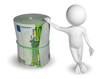 Man and a roll of Euro Stock Photography