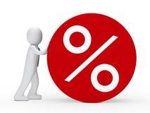 Man roll red percent circle. 3d man tie roll red percent circle Stock Photo