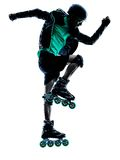 Man Roller Skater inline   silhouette Stock Image