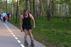Russia, Moscow, may 12, 2018, man on roller skates in the Park, editorial royalty free stock photos