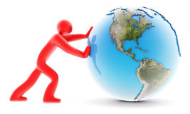 Man Rolling Earth On White Stock Image