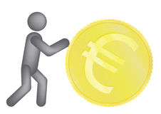 Man rolling golden euro coin Royalty Free Stock Photography