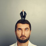 Man rolling on the head big man Stock Photos