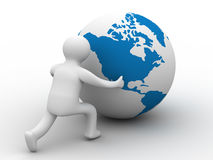 Man rolls the globe on a white background. Isolated 3D image Royalty Free Stock Image