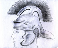 Man in Roman helmet. Man wearing Roman helmet. Pencil drawing, sketch Stock Photo