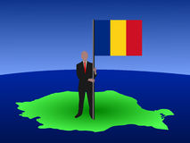 Man with Romanian flag Stock Photography
