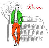 Man in Rome. Man staying near Colosseum in Rome, Italy. Artistic hand drawn ink sketch Stock Photos