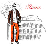 Man in Rome. Man staying near Colosseum in Rome, Italy. Artistic hand drawn ink sketch Stock Photo