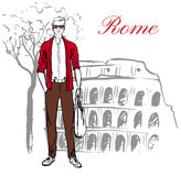 Man in Rome. Man staying near Colosseum in Rome, Italy. Artistic hand drawn ink sketch Royalty Free Stock Image
