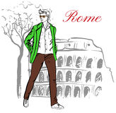 Man in Rome. Man walking near Colosseum in Rome, Italy. Artistic hand drawn ink sketch Royalty Free Stock Photography