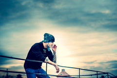 Man on the roof of the high building Royalty Free Stock Photos