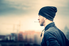 Man on the roof of the high building Royalty Free Stock Photography