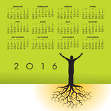 2016 man with roots calendar. For print or web Royalty Free Stock Images